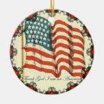 Agradezca a dios Im un ornamento de la bandera Adorno Navideño Redondo De Cerámica