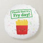 Agradezca a dios por día de la fritada con humor cojín redondo
