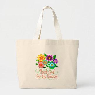 Agradezca a dios por flores bolsa tela grande