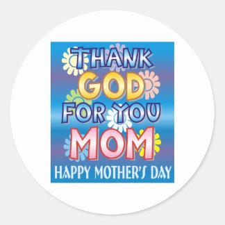 Agradezca a dios por usted, mamá etiquetas redondas
