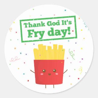 ¡Agradezca a dios que es día de la fritada! con Pegatina Redonda