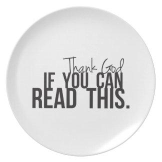 Agradezca a dios si usted puede leer esto plato de cena
