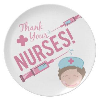 Agradezca a las enfermeras platos