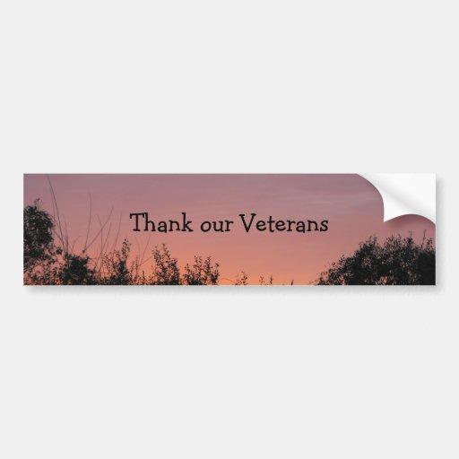 Agradezca a nuestros veteranos pegatina para auto