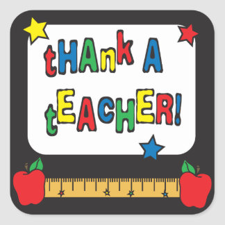 Agradezca a un profesor pegatina cuadrada
