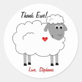 Agradezca al pegatina de las gracias de las ovejas
