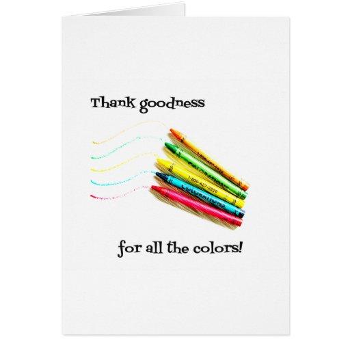 Agradezca la calidad por todos los colores tarjeton