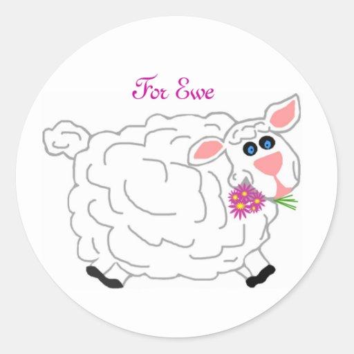 Agradezca la oveja, por pegatinas de la oveja pegatina redonda