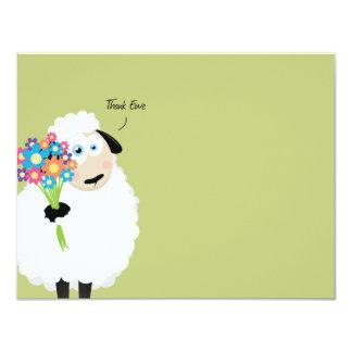 """Agradezca la oveja que las ovejas con las flores invitación 4.25"""" x 5.5"""""""