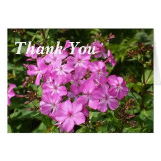 Agradezca las flores Usted-Rosadas Tarjeta Pequeña