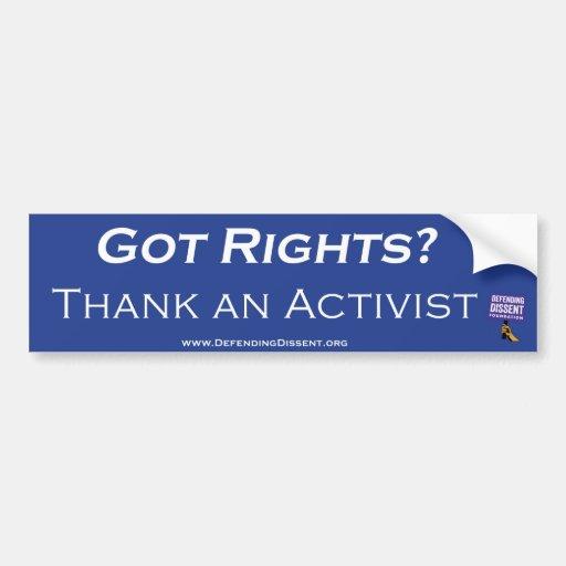 Agradezca un azul del activista pegatina para auto