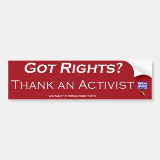 agradezca un rojo del activista pegatina para auto