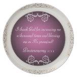 Agradezco la placa de la bendición de la escritura plato de cena