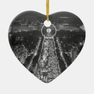 Agree, Paris, France Double-Sided Heart Ceramic Christmas Ornament