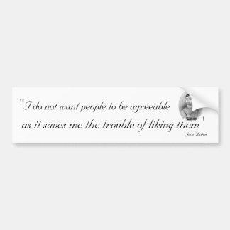 Agreeable People: Quotable Jane Austen Car Bumper Sticker