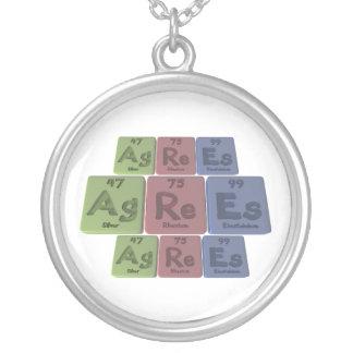 Agrees-Ag-Re-Es-Silver-Rhenium-Einsteinium Round Pendant Necklace