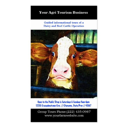 Agri Tourism Agricultural Dairy Beef Farming Business Card Templates