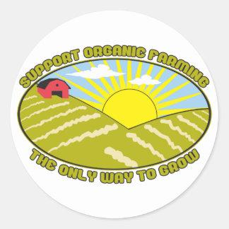 Agricultura biológica de la ayuda pegatina redonda