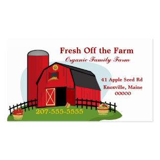 Agricultura biológica fresca tarjetas de visita