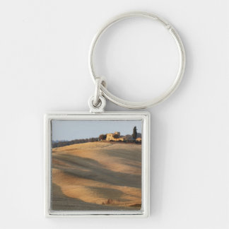 Agricultural field at sunset, Val d'Orcia, Tusca Keychain