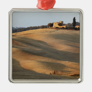 Agricultural field at sunset, Val d'Orcia, Tusca Metal Ornament