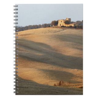 Agricultural field at sunset, Val d'Orcia, Tusca Notebook