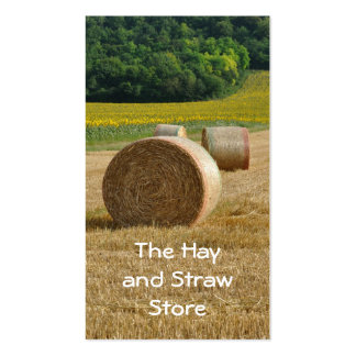 Agricultural landscape with bales of straw business card