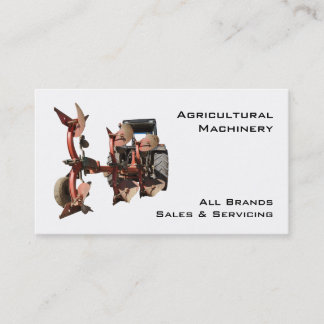 Agricultural machinery tractor and plow business card