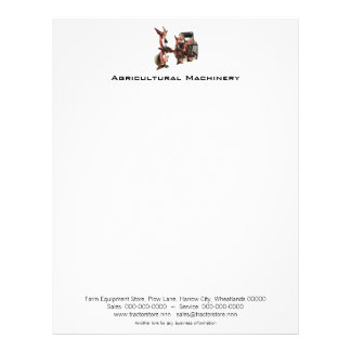 Agricultural Machinery tractor and plow Letterhead