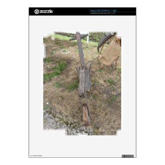 Agricultural old wooden plow on the ground decal for iPad 2