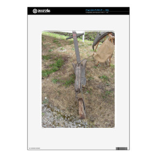 Agricultural old wooden plow on the ground skins for the iPad