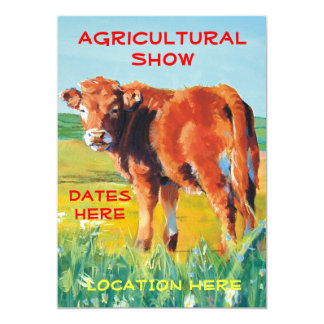 Agricultural Show Invitations cute calf