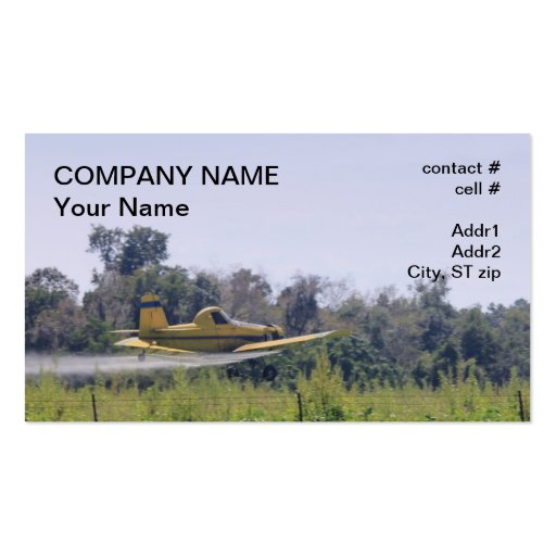 Agriculture plane spraying business card templates