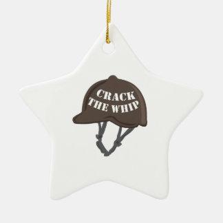 Agriete el azote adorno navideño de cerámica en forma de estrella