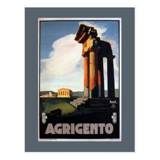 Agrigento Vintage Italian Travel Poster Postcard