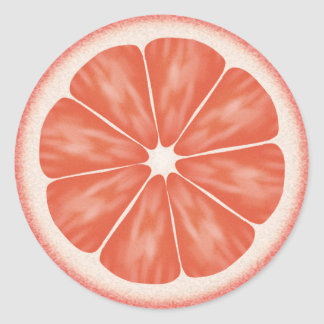 Agrios del pomelo rosado pegatina redonda