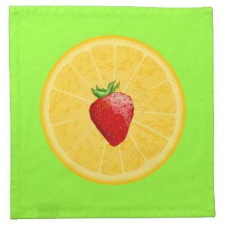 Agrios del verano de la fresa y del naranja en ver servilletas