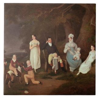 Agrupe el retrato de un escudero, de su esposa y d azulejo cuadrado grande