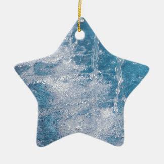 Agua azul adorno navideño de cerámica en forma de estrella