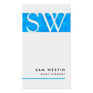 Agua azul BusinessCard del monograma intrépido del Tarjeta De Visita