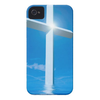 Agua azul cruzada blanca del cristianismo religios Case-Mate iPhone 4 cobertura