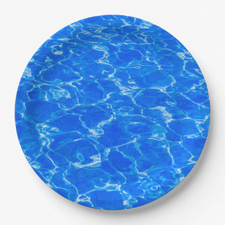 Agua azul fresca platos de papel