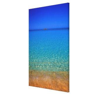 Agua azul, islas de Exuma, Bahamas Lona Envuelta Para Galerías
