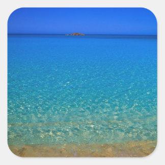 Agua azul islas de Exuma Bahamas Calcomanía Cuadradas Personalizadas