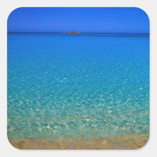 Agua azul, islas de Exuma, Bahamas Pegatina Cuadrada