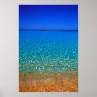 Agua azul, islas de Exuma, Bahamas Póster