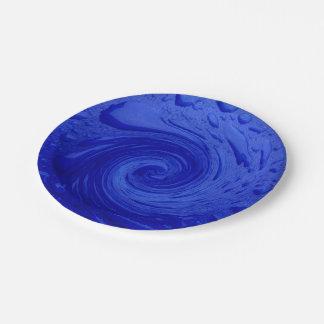 Agua azul que remolina plato de papel 17,78 cm