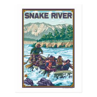 Agua blanca que transporta en balsa - el río tarjetas postales
