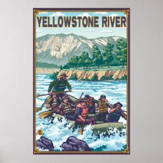 Agua blanca que transporta en balsa - el río Yello Póster