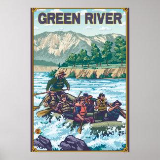 Agua blanca que transporta en balsa - Green River, Póster